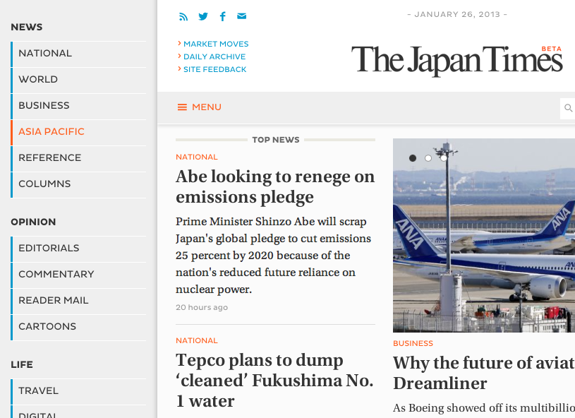 The Japan Times - New Responsive Website Launched - 2013