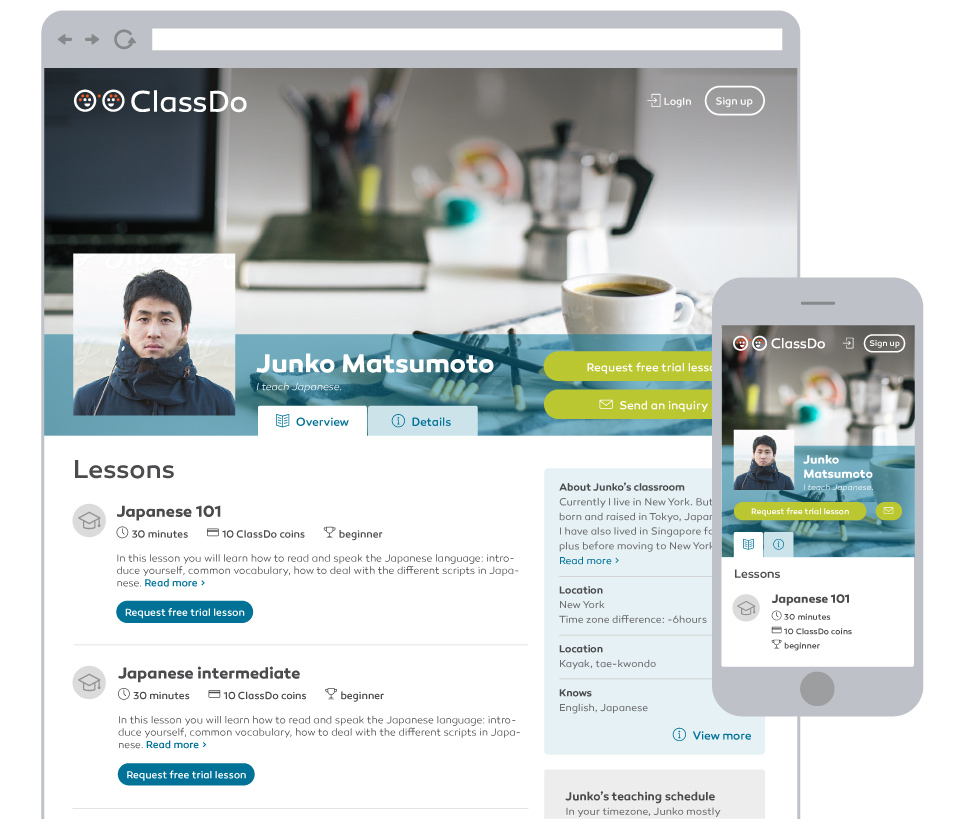 ClassDo - A Knowledge Market and Learning Platform - Public Teacher Profile Page