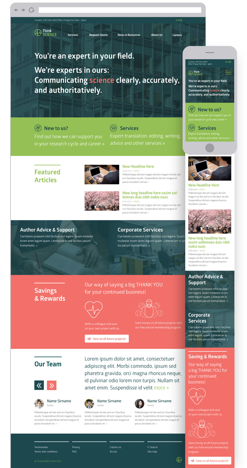 ThinkSCIENCE - expert translation and editing - logo, identity, illustration, website and print design