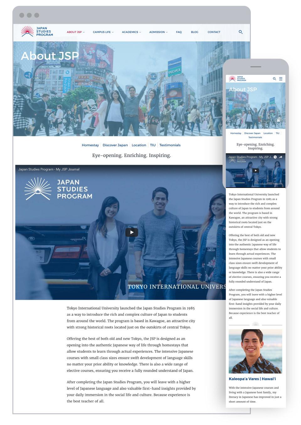 Japan Studies Program for Tokyo International University - About JSP Page with video