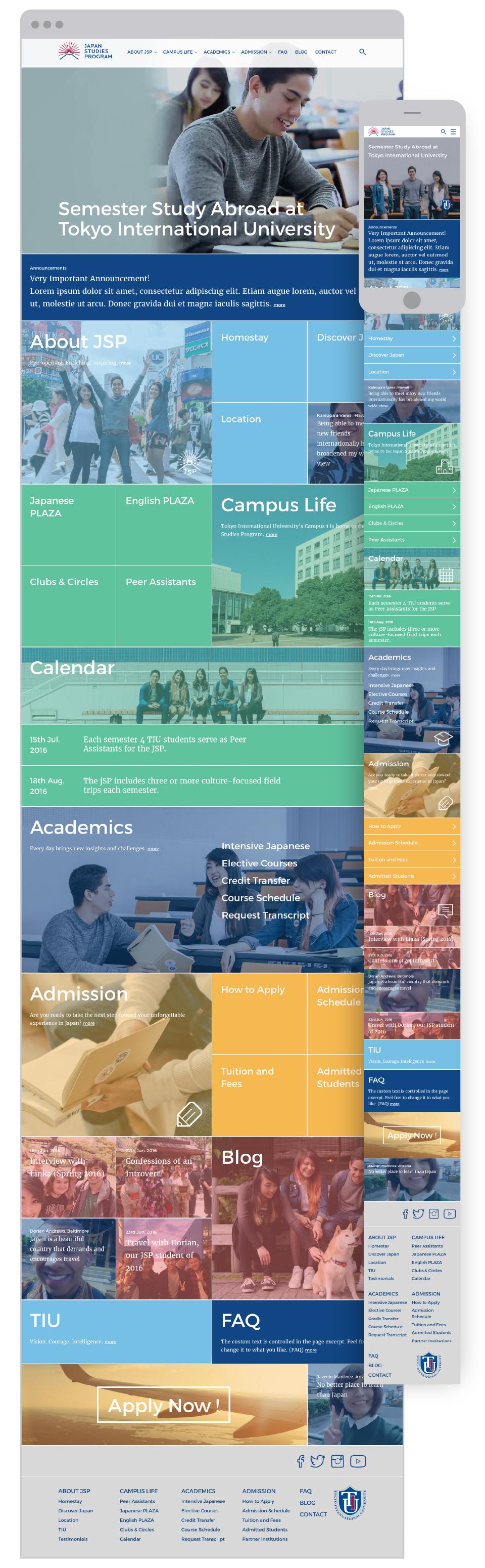 Japan Studies Program for Tokyo International University - Homepage of responsive website - UI UX
