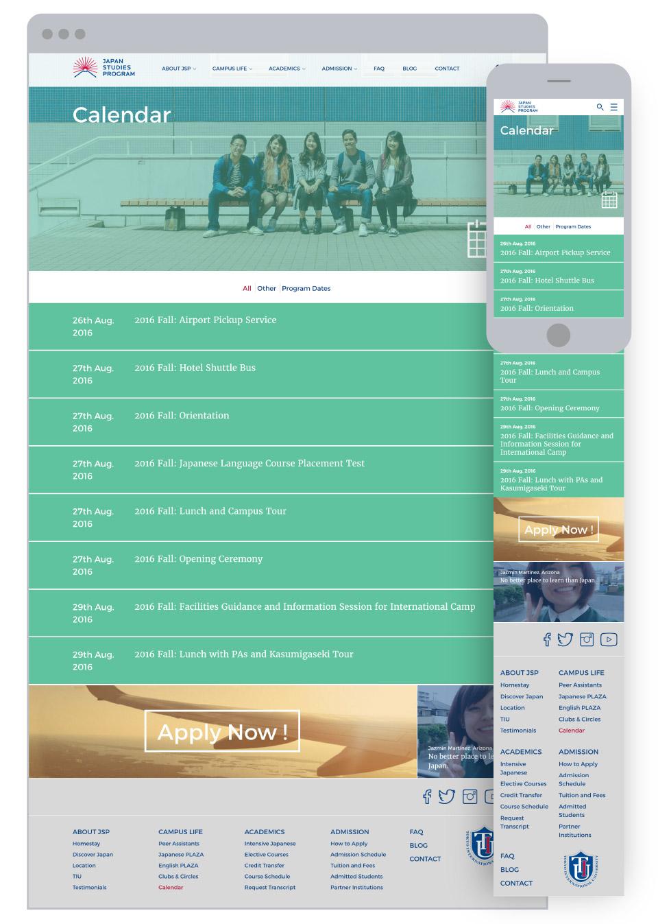 Japan Studies Program for Tokyo International University - Events Calendar Page