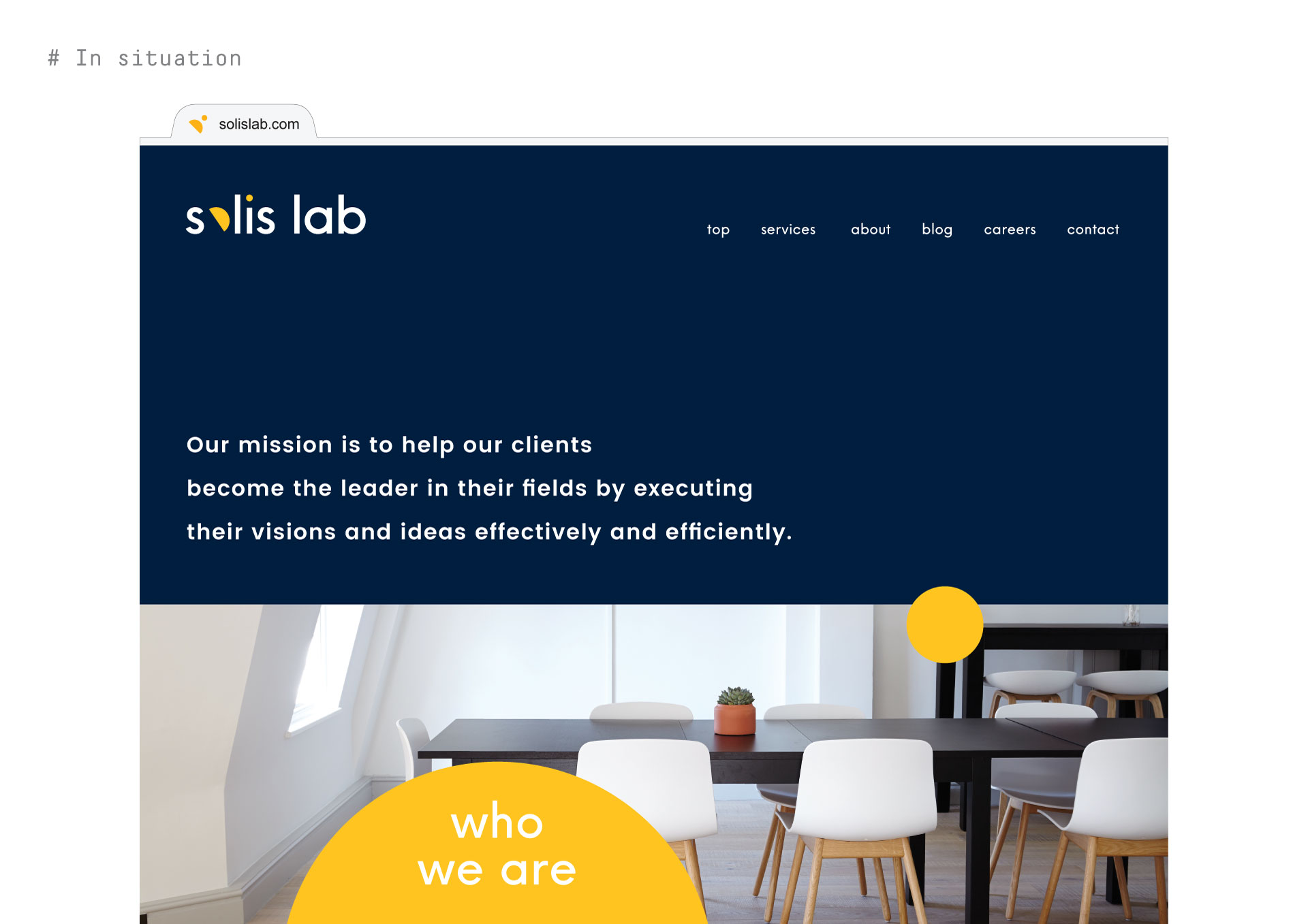 solis lab - branding applied in situation