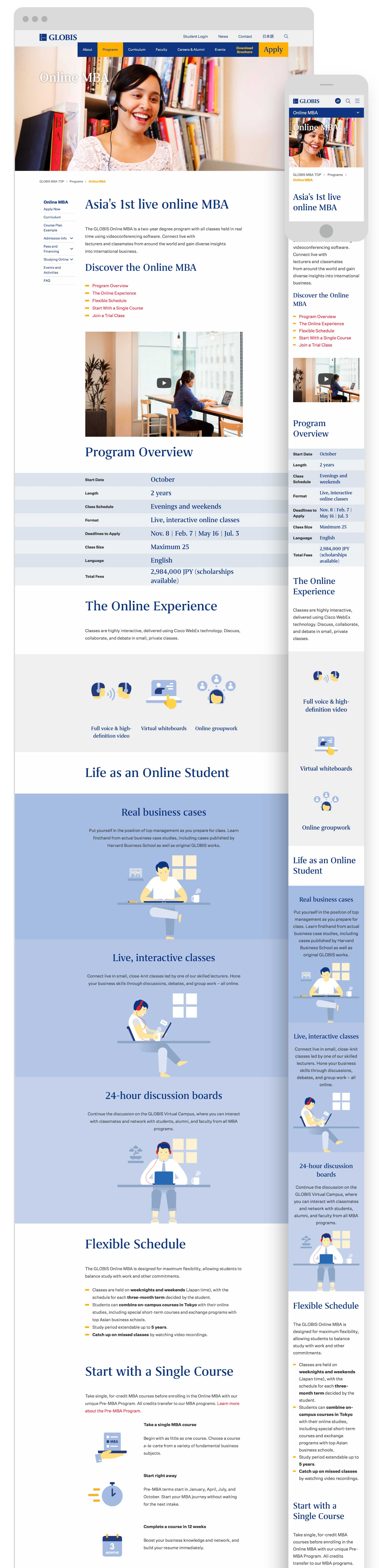 Globis University - Responsive Online MBA Program Landing Page