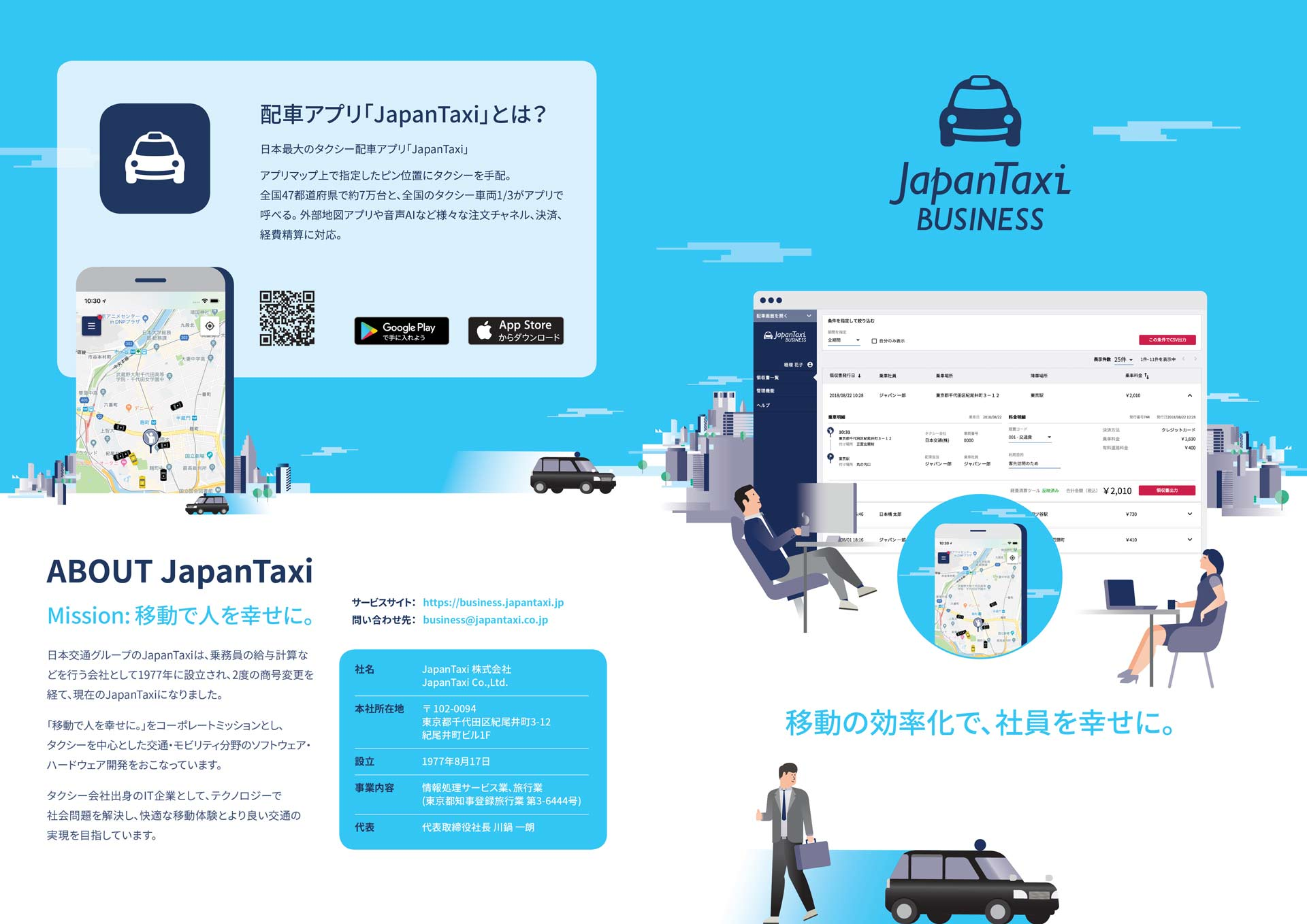 Japan Taxi | Nihon Kotsu - Brochure Layout Design & Illustration