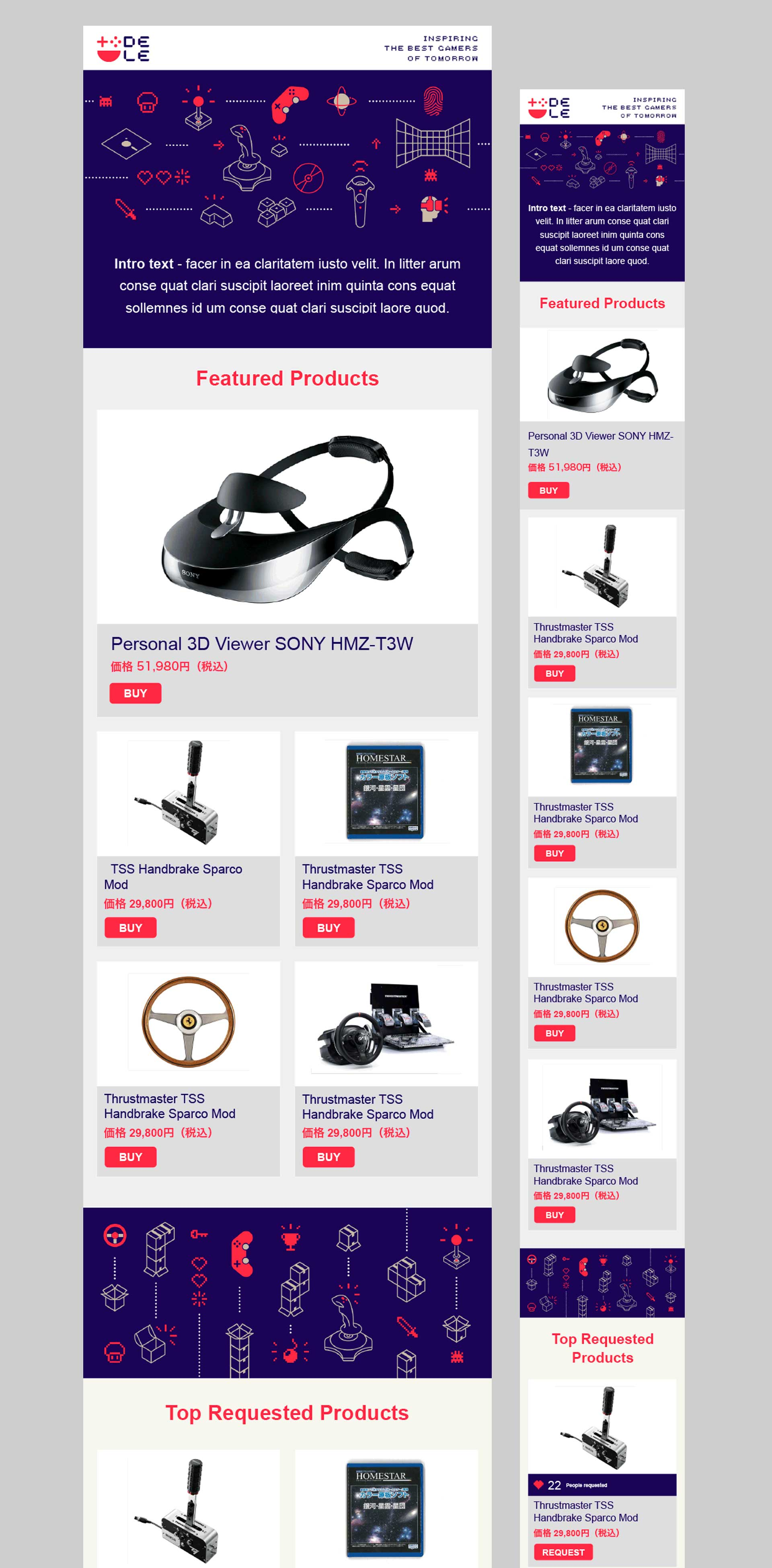 DELE - Gaming Accessory Retailer - Branding, Identity Design, Illustration, UI/UX design and print
