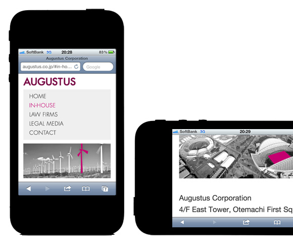 Augustus Corporation - iOS, iPhone, Android, Smartphone optimised with media queries, responsive web design