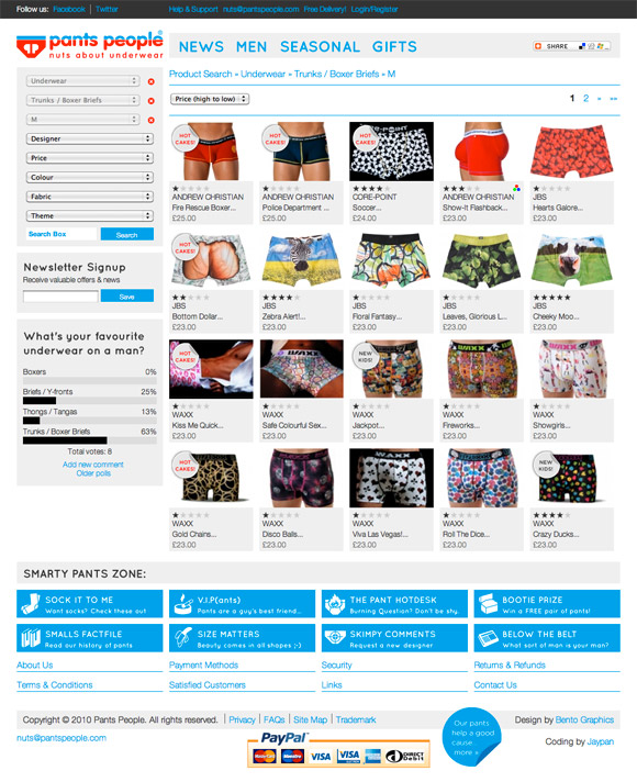 Pants People - Nuts about Pants - E-Commerce Website Shop