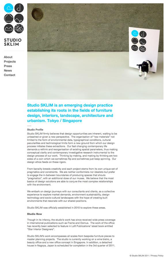 Studio Sklim Tokyo/Singapore - About Page