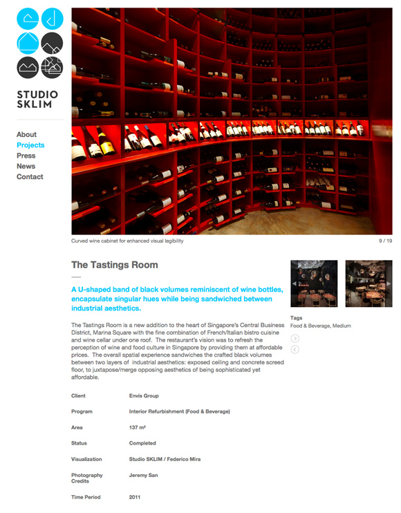 Studio Sklim Tokyo/Singapore - Project Detail Page - The Tasting Room