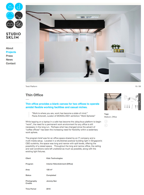 Studio Sklim Tokyo/Singapore - Project Detail Page - The Thin Office