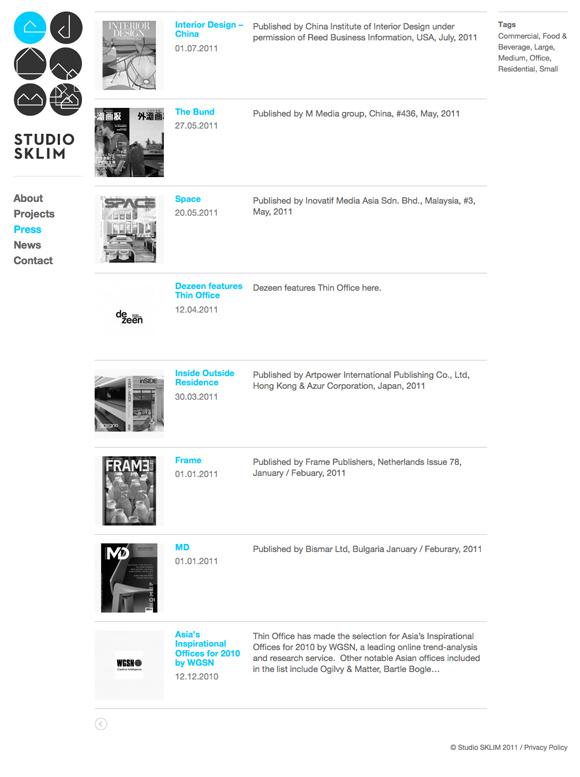 Studio Sklim Tokyo/Singapore - Press Listing Page