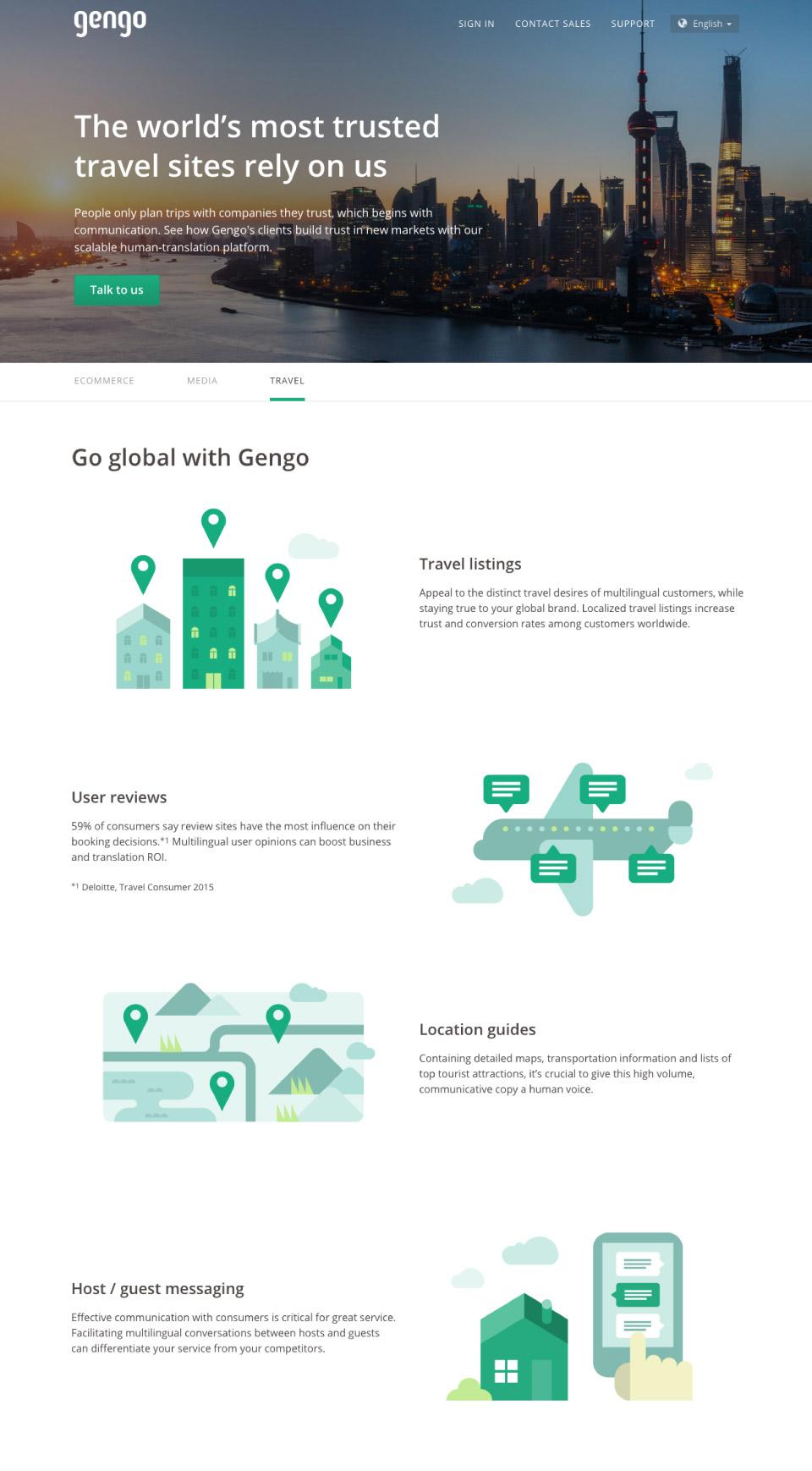 gengo japan human translation service - website icon spot illustrations