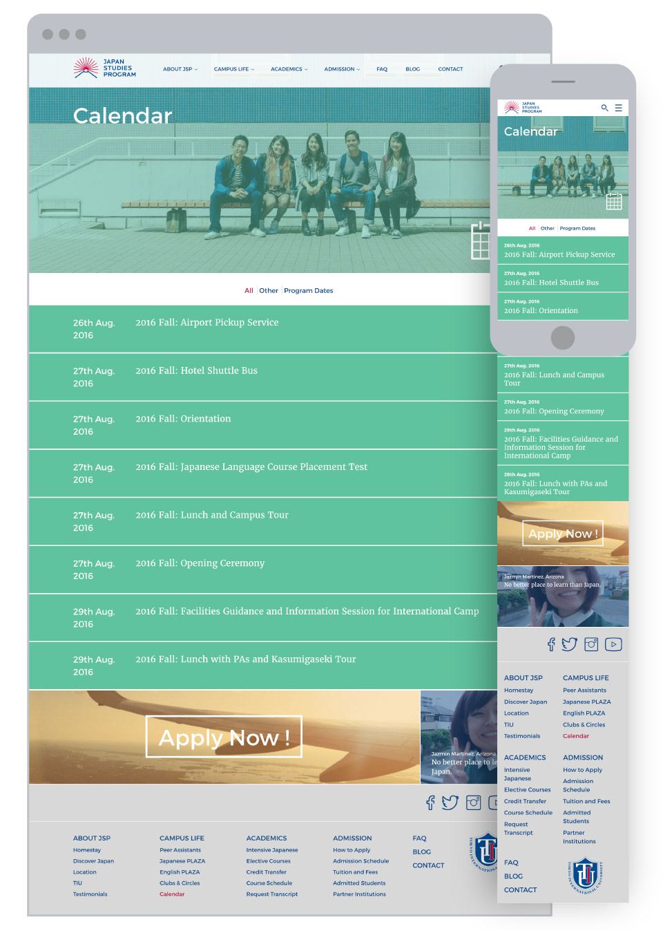 Japan Studies Program for Tokyo International University - Events Calendar Page