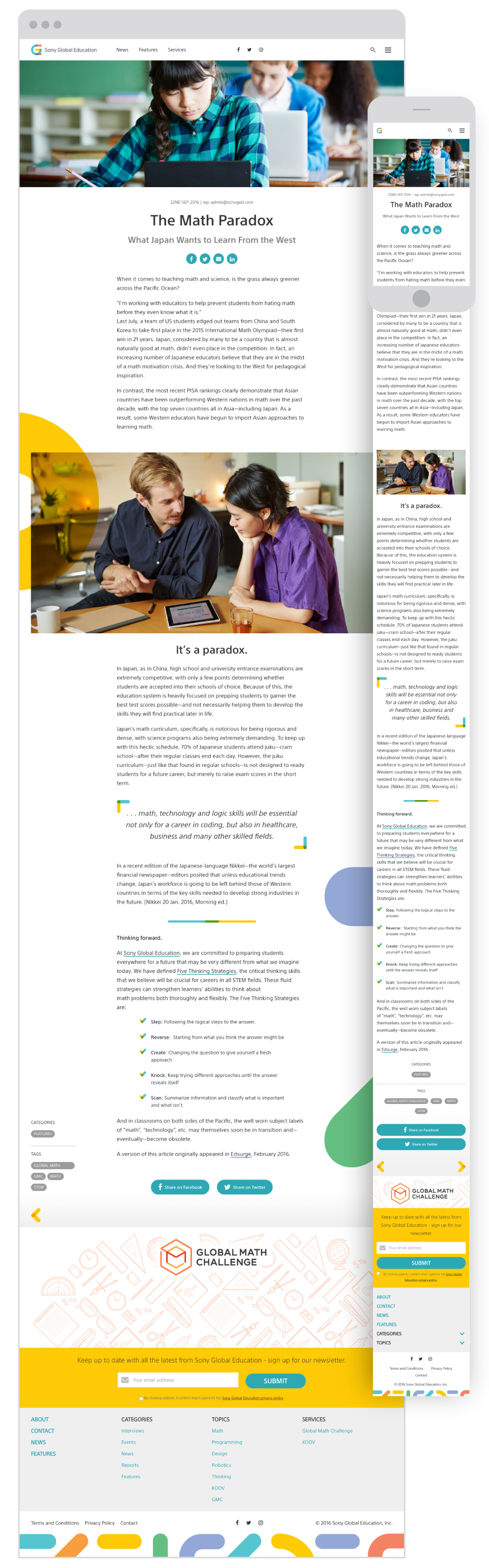 Sony Global Education - Sony Global Education - Article Page