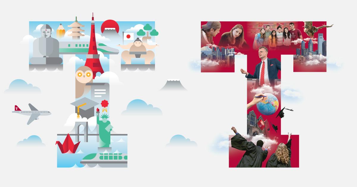 Temple University Japan in Tokyo - English Japanese Undergraduate Brochures - Print Layout Design Illustration