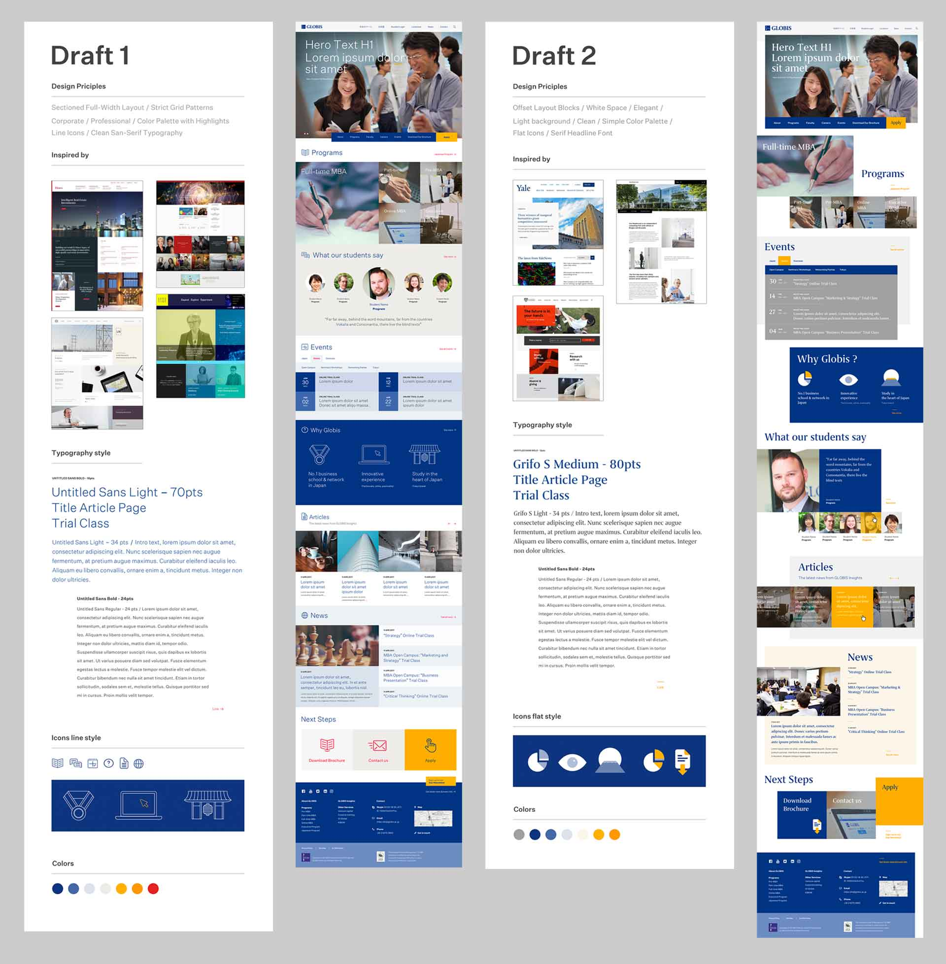 Globis University - Business School - Design Principles Moodboard and UI Mockup