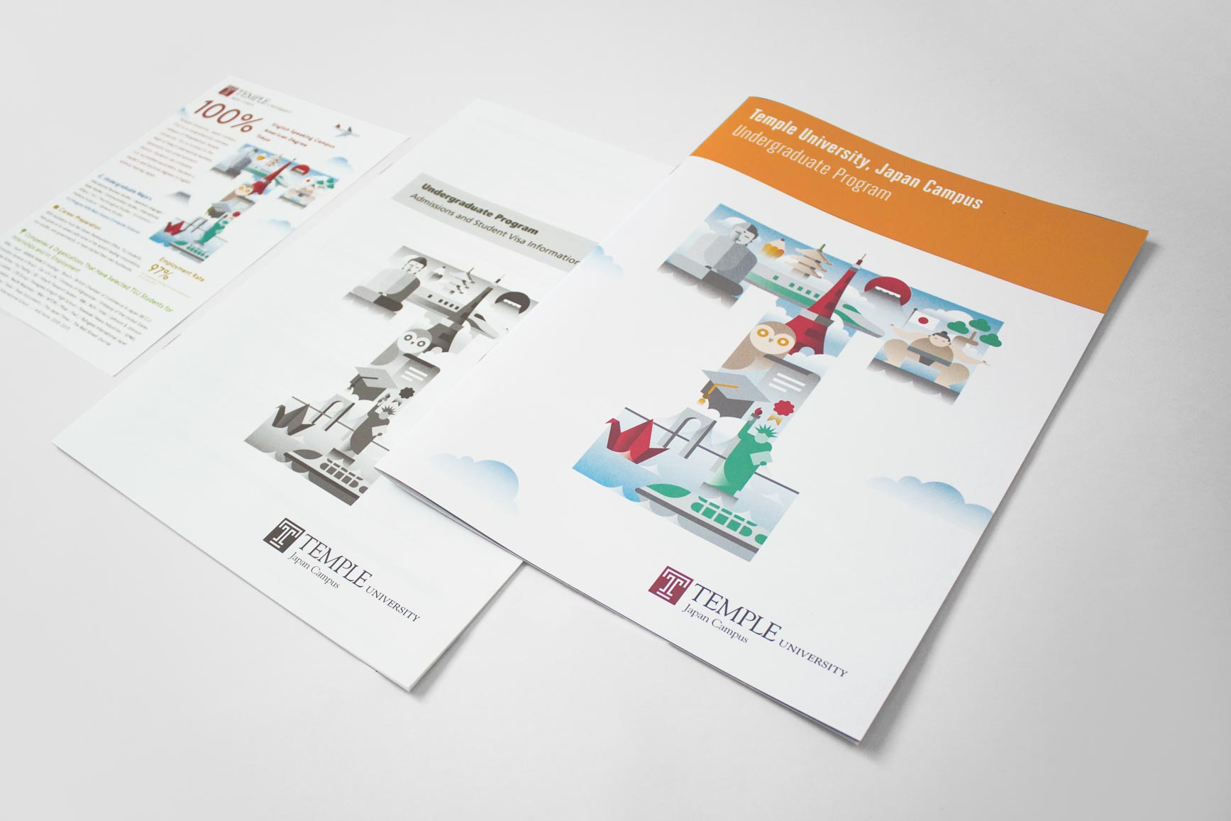 Temple University Japan in Tokyo - English Japanese Undergraduate Brochures - Print Layout Design Illustration