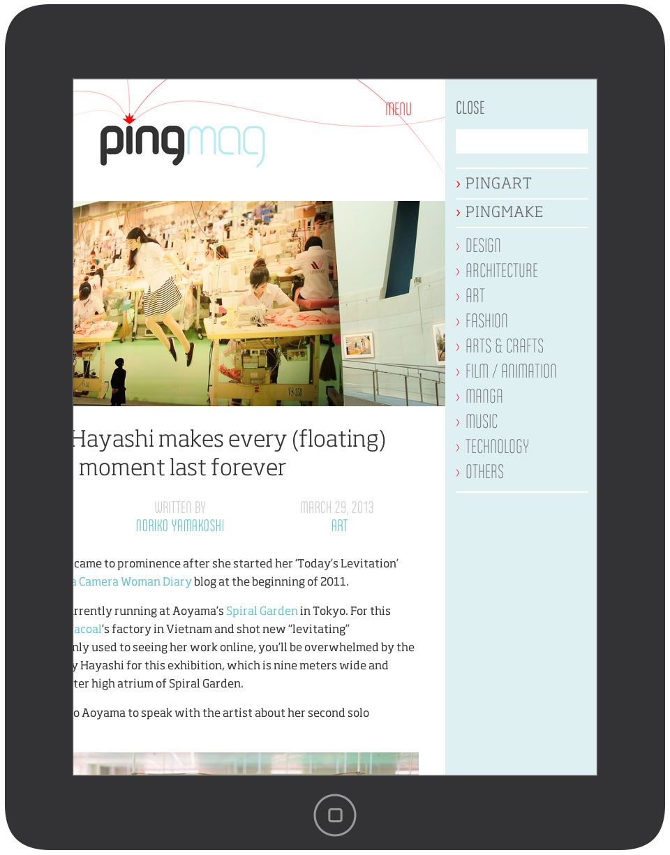 Pingmag - Tablet & iPad Layout - Home with Offcanvas Menu - New Responsive Website