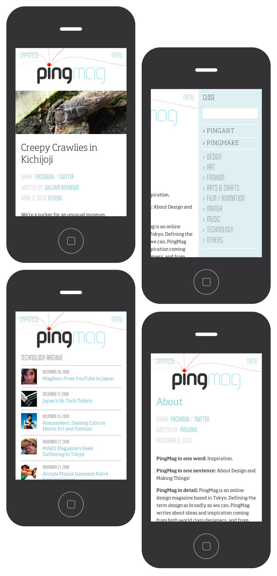 Pingmag - Smartphone & iPhone Layouts - Archive Page - New Responsive Website