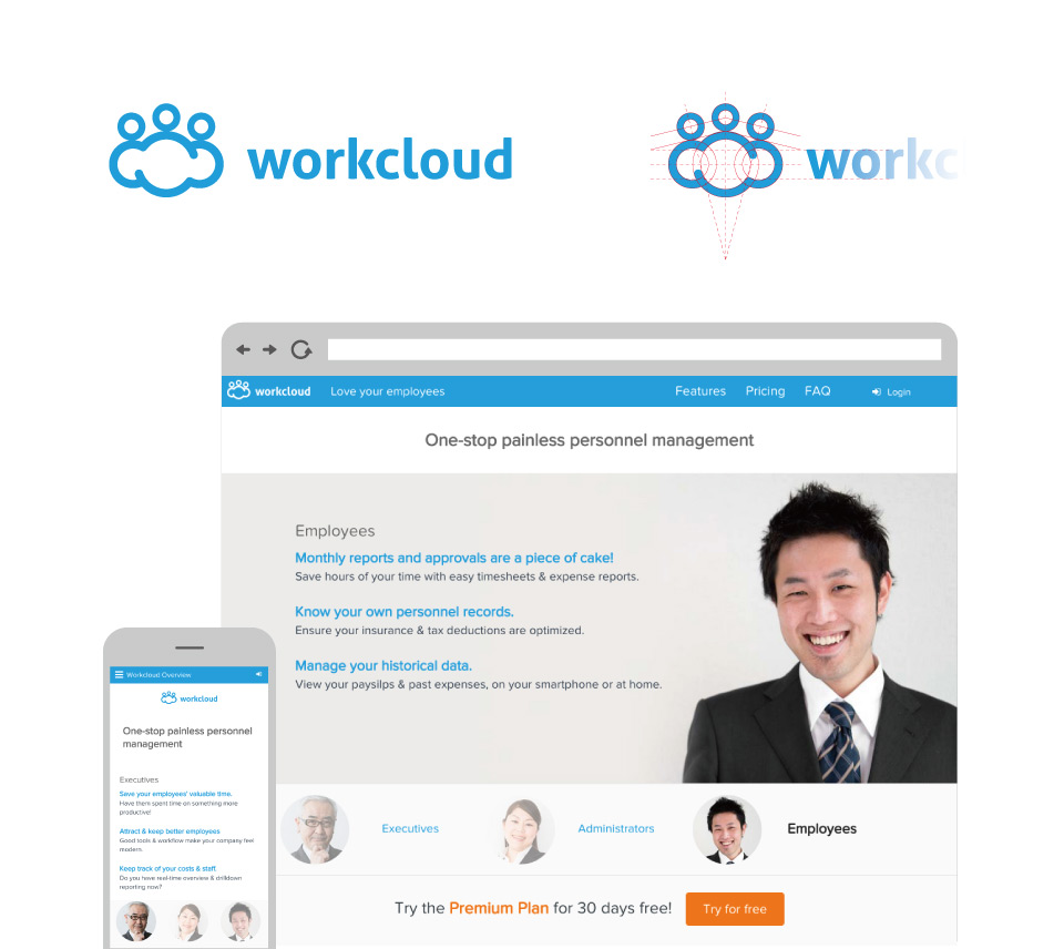 WorkCloud - Logo and desktop/mobile ui interfaces
